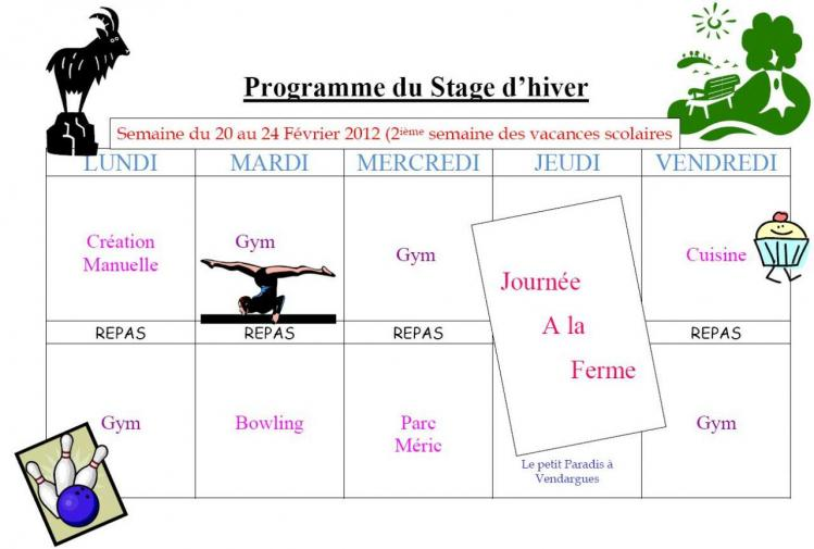 Programme Stage Hiver 2012